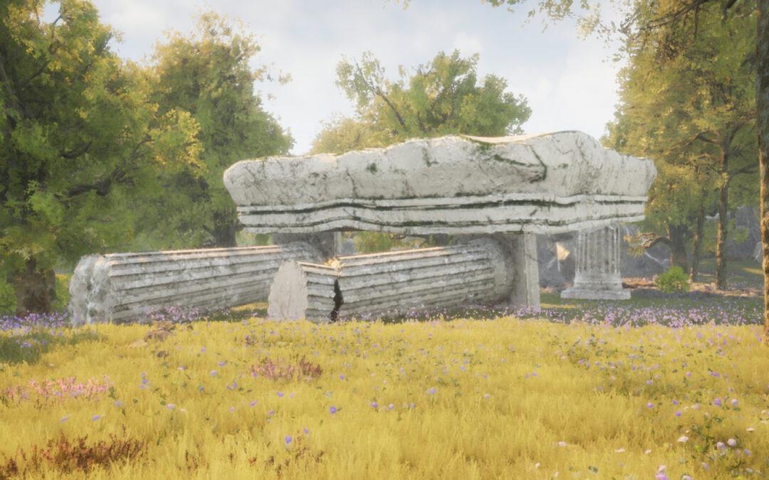 3D   Greek columns scene assets & renders